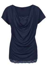Shirt z koronką bonprix ciemnoniebieski. Typ kołnierza: dekolt woda. Kolor: niebieski. Materiał: koronka. Wzór: koronka