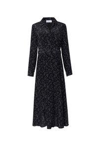 JENESEQUA - Jedwabna sukienka w kropki Bastia. Typ kołnierza: dekolt kopertowy. Kolor: czarny. Materiał: jedwab. Długość rękawa: długi rękaw. Wzór: kropki. Typ sukienki: kopertowe. Styl: elegancki. Długość: midi