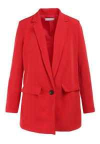 Born2be - Czerwona Marynarka Deroya. Kolor: czerwony. Materiał: tkanina. Styl: klasyczny