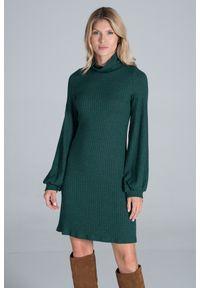 Figl - Dzianinowa Sukienka z Golfem - Zielona. Typ kołnierza: golf. Kolor: zielony. Materiał: dzianina