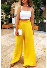 Żółte spodnie IVET w kolorowe wzory