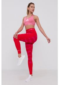 adidas Performance - Legginsy. Stan: podwyższony. Kolor: czerwony. Materiał: dzianina, materiał