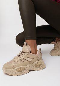 Born2be - Ciemnobeżowe Sneakersy Haidina. Wysokość cholewki: przed kostkę. Nosek buta: okrągły. Kolor: beżowy. Materiał: jeans, dresówka, materiał. Szerokość cholewki: normalna