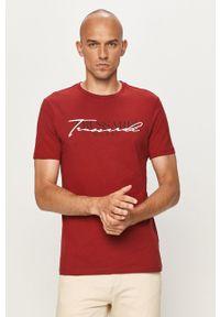 Czerwony t-shirt Trussardi Jeans z włoskim kołnierzykiem, z nadrukiem, casualowy