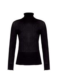 Czarny sweter Aeronautica Militare z golfem, elegancki