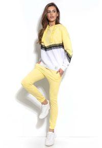 Fobya - Cytrynowe Dresowe Spodnie ze Ściągaczem na Dole. Kolor: żółty. Materiał: dresówka