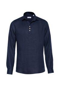 Niebieska koszula VEVA klasyczna, z klasycznym kołnierzykiem