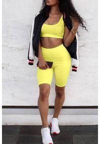 Żółty komplet sportowy IVET na fitness i siłownię