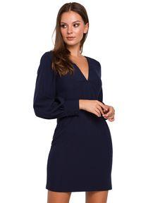 Makover - Sukienka mini z głębokim dekoltem w kształcie litery V. Typ kołnierza: dekolt w kształcie V. Styl: elegancki. Długość: mini