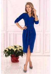 Merribel - Niebieska Prosta Kopertowa Sukienka z Guzikami. Kolor: niebieski. Materiał: poliester, elastan. Typ sukienki: proste, kopertowe