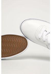 Białe sneakersy Polo Ralph Lauren z cholewką, na sznurówki, z okrągłym noskiem