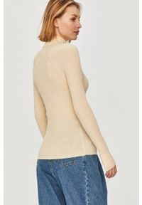Kremowy sweter Answear Lab z golfem, długi, gładki, z długim rękawem