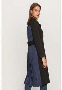 Czarny płaszcz Karl Lagerfeld bez kaptura, klasyczny