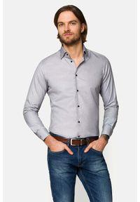 Lancerto - Koszula Szara Pepe. Kolor: szary. Materiał: bawełna, jeans, tkanina, wełna