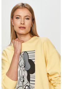 Żółta bluza only z nadrukiem, bez kaptura