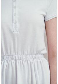 Marie Zélie - Sukienka Polo z gumką biała krótki rękaw. Okazja: na co dzień, do pracy. Typ kołnierza: polo. Kolor: biały. Materiał: materiał, dzianina, bawełna. Długość rękawa: krótki rękaw. Typ sukienki: proste, sportowe. Styl: wakacyjny, sportowy, casual, klasyczny
