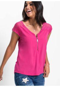 Różowa bluzka bonprix biznesowa, z dekoltem w serek, na lato