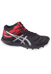 Czarne buty do siatkówki Asics z cholewką, w kolorowe wzory