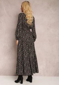 Renee - Czarna Sukienka Appoloin. Kolor: czarny. Materiał: materiał. Długość rękawa: długi rękaw. Wzór: kwiaty, aplikacja, kolorowy. Typ sukienki: kopertowe. Długość: maxi #4