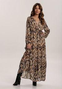 Renee - Brązowa Sukienka Galeendyl. Typ kołnierza: kokarda. Kolor: brązowy. Materiał: materiał. Długość rękawa: długi rękaw. Typ sukienki: kopertowe. Długość: midi