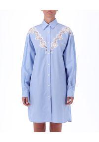 Niebieska sukienka mini Ermanno Firenze w koronkowe wzory, klasyczna, z długim rękawem