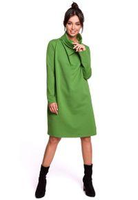 MOE - Limonkowa Sukienka o Kroju Litery A z Wysokim Kołnierzem. Materiał: elastan, bawełna