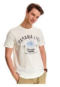 Biały t-shirt TOP SECRET wakacyjny, na co dzień, z nadrukiem