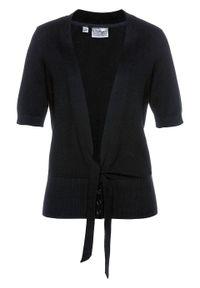 Sweter rozpinany z ozdobnym przewiązaniem bonprix Sweter roz z przew czarny. Kolor: czarny