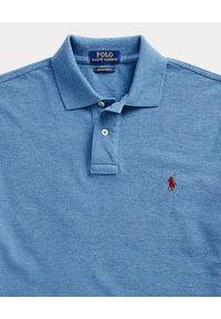 Niebieskie polo z krótkim rękawem Ralph Lauren długie, z haftami, polo
