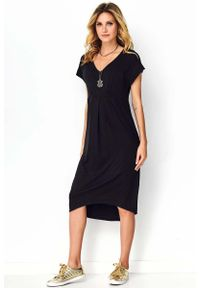Czarna sukienka Makadamia maxi, z dekoltem w serek