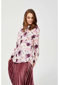 MOODO - Koszula w kwiaty. Materiał: wiskoza, poliester. Długość rękawa: długi rękaw. Długość: długie. Wzór: kwiaty