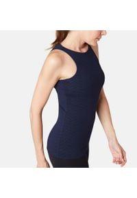 NYAMBA - Top z wszytym stanikiem Gym & Pilates 900 damski. Kolor: niebieski. Materiał: lyocell, elastan, skóra, materiał, bawełna. Sport: joga i pilates