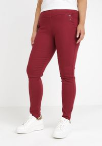 Born2be - Bordowe Legginsy Izuboh. Kolor: czerwony. Materiał: tkanina. Długość: do kostek. Wzór: jednolity, aplikacja. Styl: sportowy
