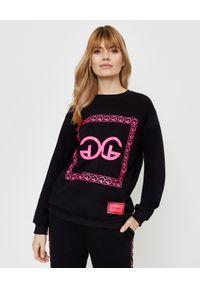 CHAOS BY MARTA BOLIGLOVA - Czarna bluza z bawełny z różowym logo. Kolor: czarny. Materiał: bawełna. Wzór: nadruk