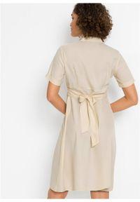 Sukienka szmizjerka bonprix beżowy. Kolor: beżowy. Typ sukienki: szmizjerki