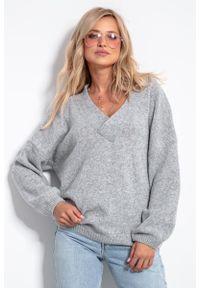 Fobya - Wełniany Sweter V neck - Szary. Kolor: szary. Materiał: wełna