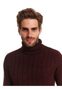 Czerwony sweter TOP SECRET długi, z długim rękawem, z golfem