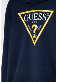 Niebieska bluza Guess Jeans casualowa, z kapturem, z nadrukiem