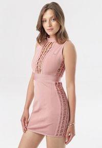 Born2be - Różowa Sukienka Kairina. Okazja: na imprezę. Kolor: różowy. Materiał: tiul. Długość rękawa: bez rękawów. Wzór: ażurowy, aplikacja. Długość: mini