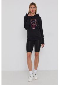 Karl Lagerfeld - Bluza bawełniana. Okazja: na co dzień. Typ kołnierza: kaptur. Kolor: czarny. Materiał: bawełna. Długość rękawa: długi rękaw. Długość: długie. Wzór: aplikacja. Styl: casual