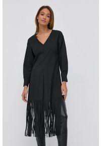 Beatrice B - Sukienka. Okazja: na co dzień. Kolor: czarny. Materiał: tkanina. Typ sukienki: proste. Styl: casual