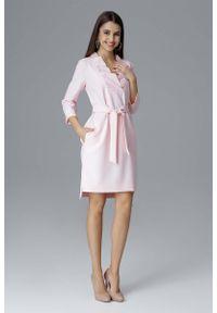 Różowa sukienka wizytowa Figl prosta