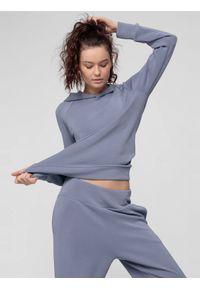 4f - Bluza do jogi damska z modalu. Kolor: niebieski. Materiał: dzianina. Długość rękawa: raglanowy rękaw