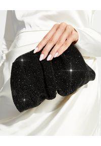 BENEDETTA BRUZZICHES - Czarna torebka z kryształami Venus Small. Kolor: czarny. Wzór: aplikacja. Materiał: z tłoczeniem. Styl: wizytowy. Rodzaj torebki: do ręki