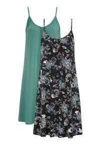 Cellbes Koszula nocna bez rękawów 2 Pack zamglona zieleń wzór paisley Czarny female zielony/czarny 62/64. Kolor: czarny, wielokolorowy, zielony. Materiał: bawełna. Długość: do kolan. Wzór: paisley