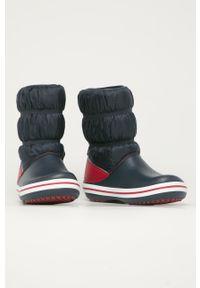 Niebieskie buty zimowe Crocs na zimę, z cholewką