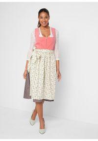 Sukienka w ludowym stylu, ze sztruksu bonprix dymny koralowy - brązowy. Kolor: różowy. Materiał: sztruks