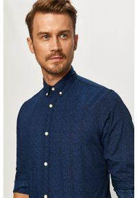 Niebieska koszula PRODUKT by Jack & Jones button down, w kwiaty, długa, casualowa
