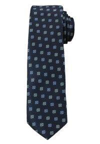 Stylowy Krawat Męski, MOTYW FLORYSTYCZNY, - 6 cm - Angelo di Monti, Granatowy. Kolor: niebieski. Wzór: kwiaty. Styl: elegancki