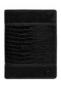 BUFFALO WILD - Portfel męski skórzany RFID Buffalo Wild N4-VTC czarny. Kolor: czarny. Materiał: skóra